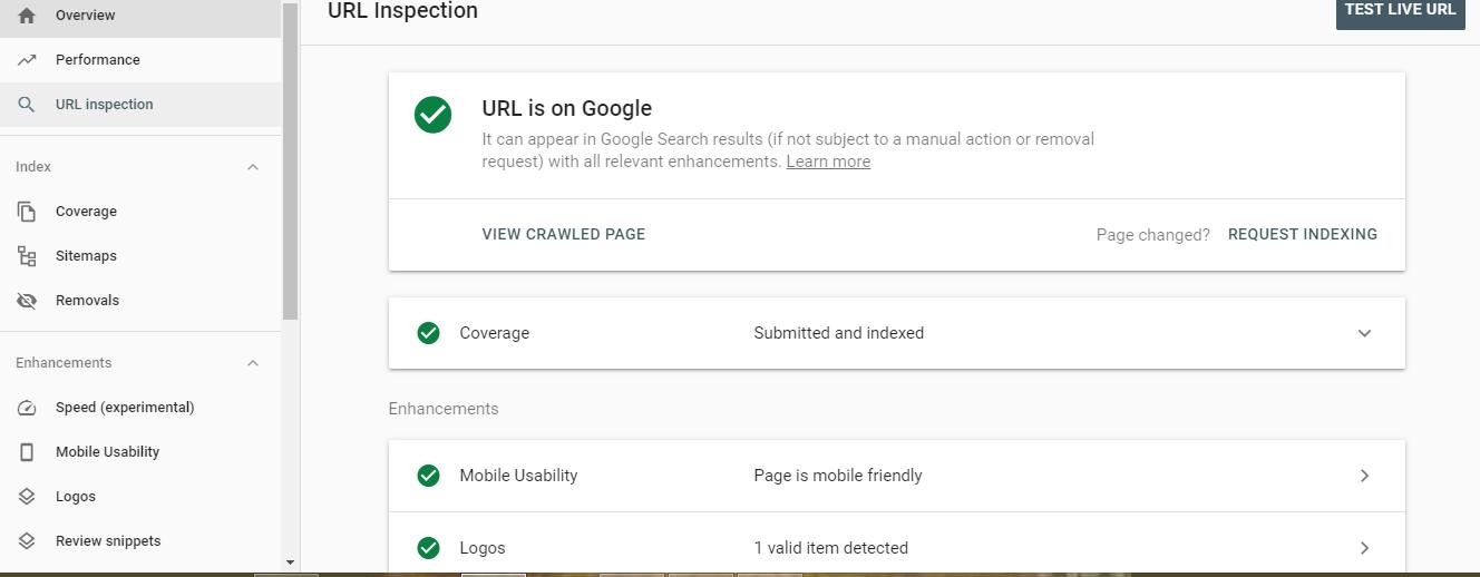 بخش URL Inspection