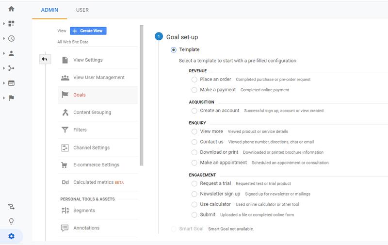 تنظیم goal در گوگل آنالیتیکس